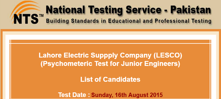 LESCO Lahore NTS Test Result 2015 Answer Keys Junior Engineer 16th August