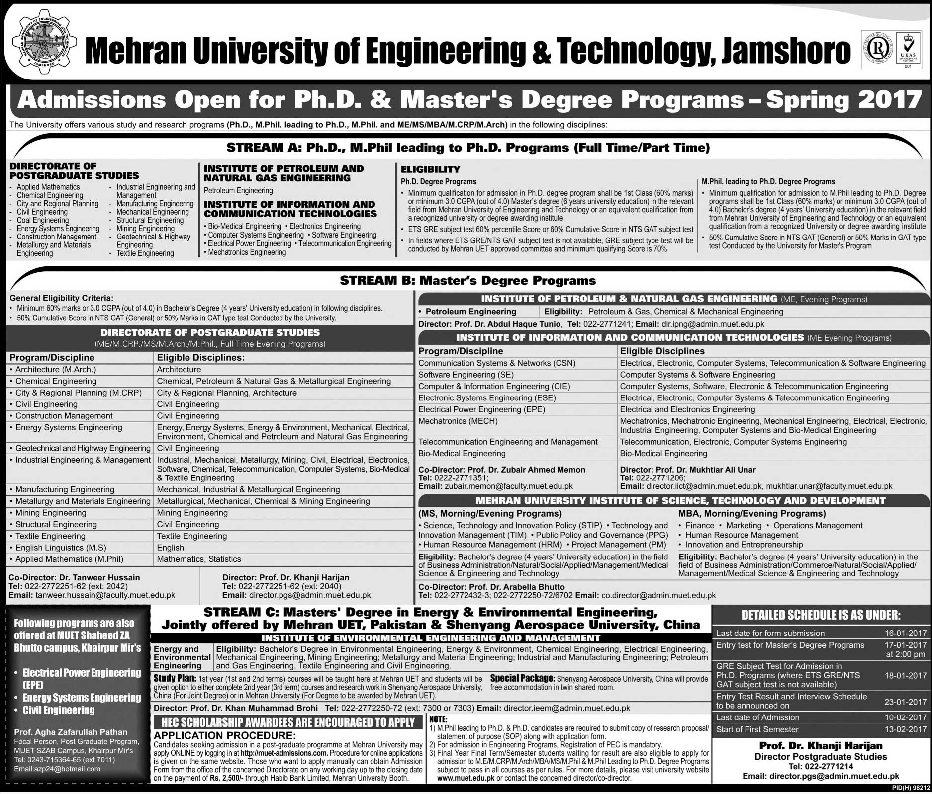 Mehran University MUET Admissions 2017 Fall MS, PhD Online Form, Last Date
