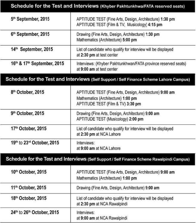 NCA Admissions 2015 Lahore and Rawalpindi Campus Schedule, Apply Online 1