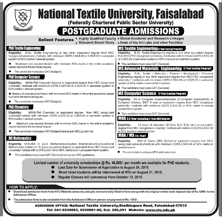 National Textile University NTU Postgraduate Admission 2017 Form, Eligibility
