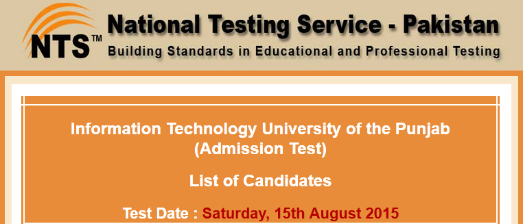 PU College Of Information Technology PUCIT Entry Test Result 2015 NTS Answer Keys
