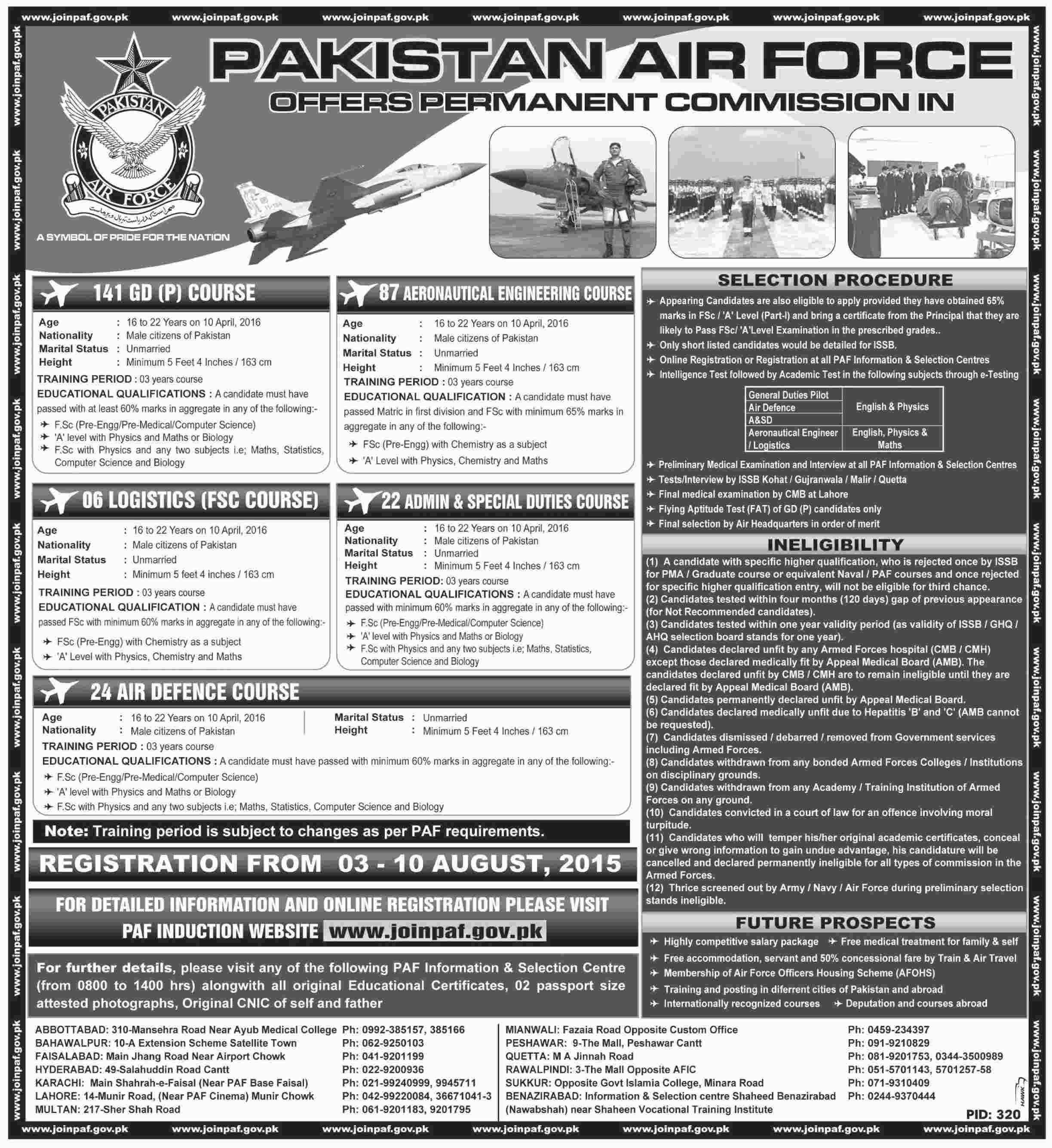 Pakistan Air Force Jobs 2015 Join PAF As 141 GDP, 87 CAE, 24 AD Online Registration