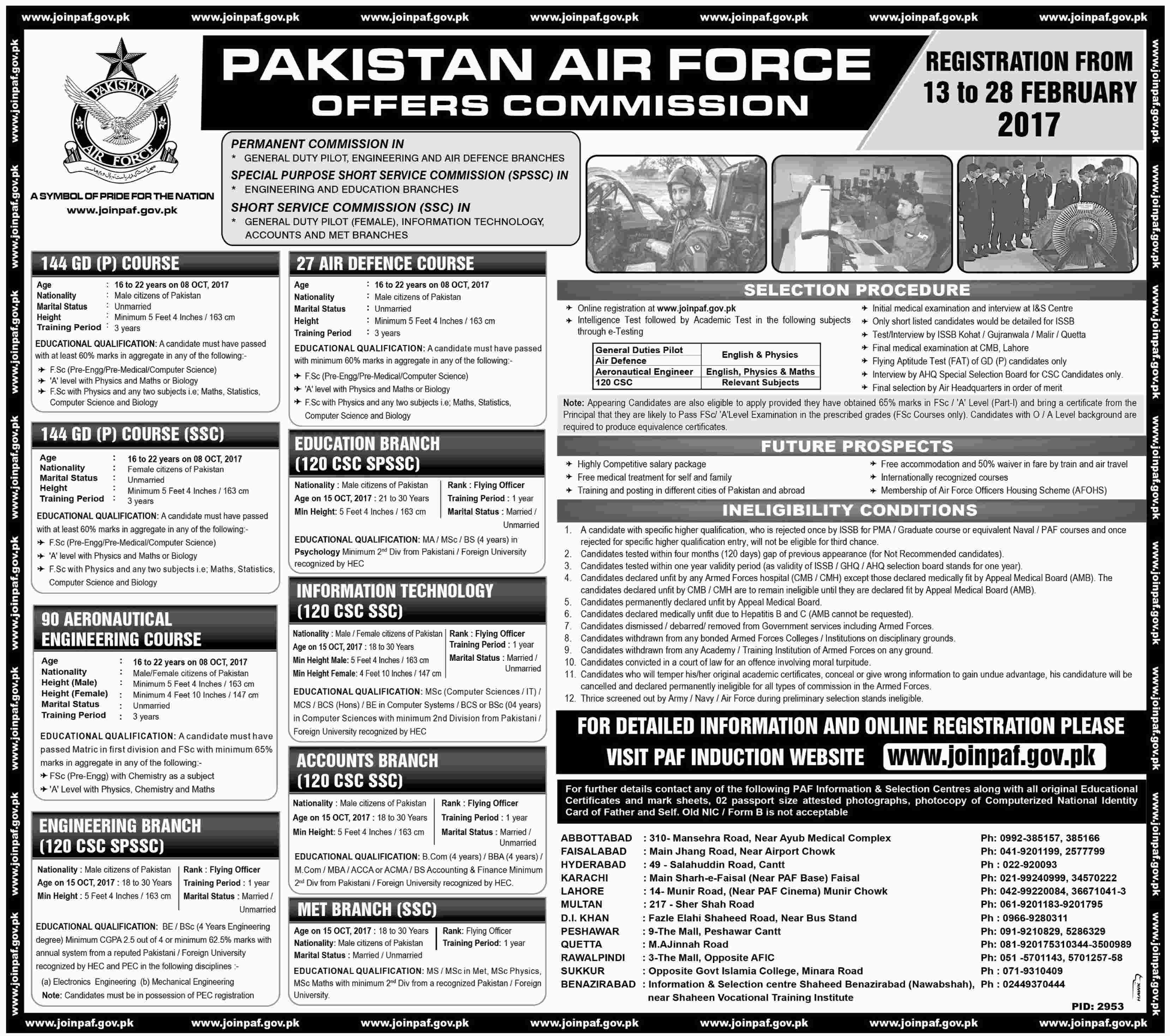 Pakistan Air Force Jobs 2017 Join PAF As 144 GDP, 90 CAE, 27 AD Online Registration