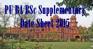 Punjab University PU BA BSc Supplementary Date Sheet 2015 Download Schedule