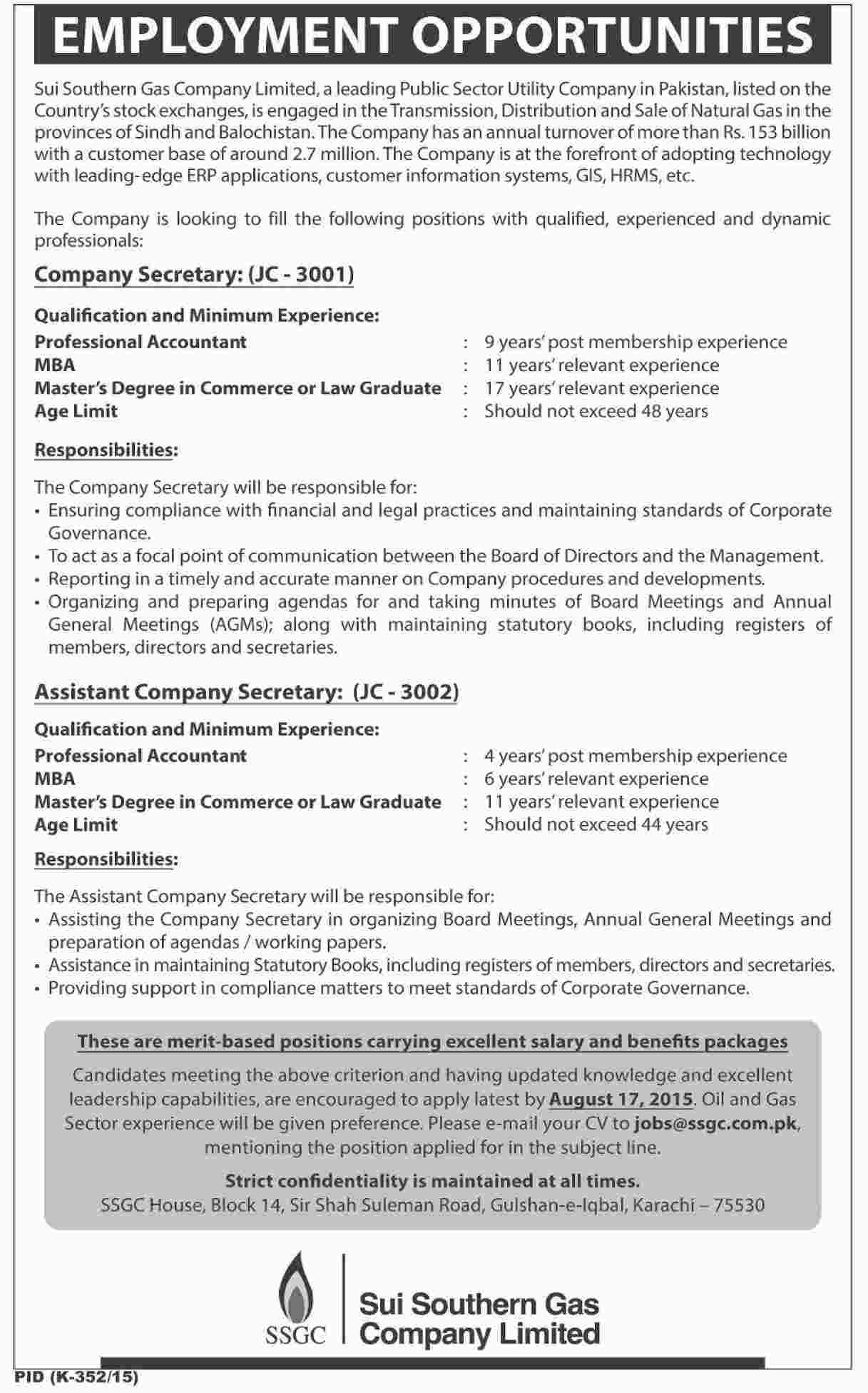 Sui Southern Gas Company SSGC Jobs 2015 Secretary, Assistant Secretary Apply Online