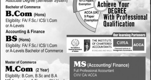 The University Of Lahore UOL Admission 2015 School Of Accountancy Eligibility, Last Date