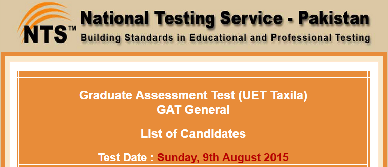 UET Taxila NTS GAT General Test Result 2015 Answer Keys 9th August