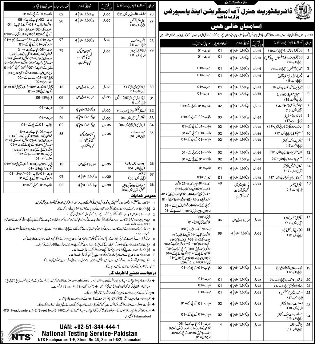 Directorate General of Immigration And Passports Jobs 2015 NTS Application Form