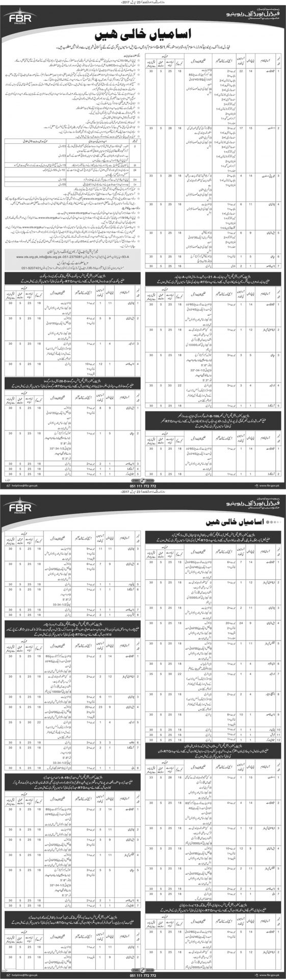 Federal Board of Revenue Jobs 2017 FBR OTS Application Form, Last Date