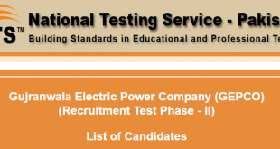 GEPCO NTS Test Result 2015 Answer Keys Gujranwala Electric Company 11th 12th 13th September