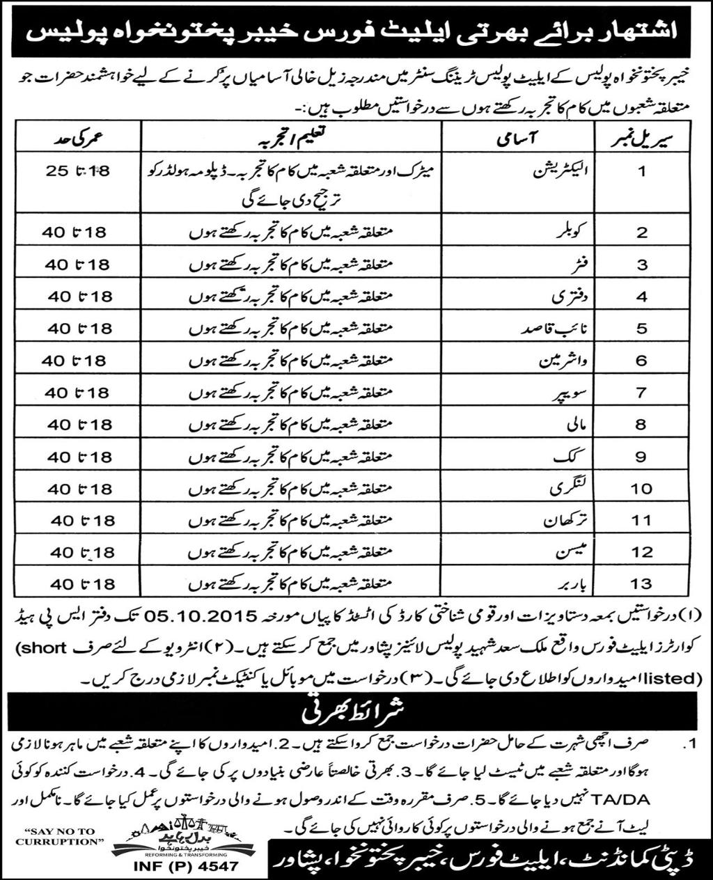 KPK Elite Police Training Centre Jobs 2015 Application Form, Last Date
