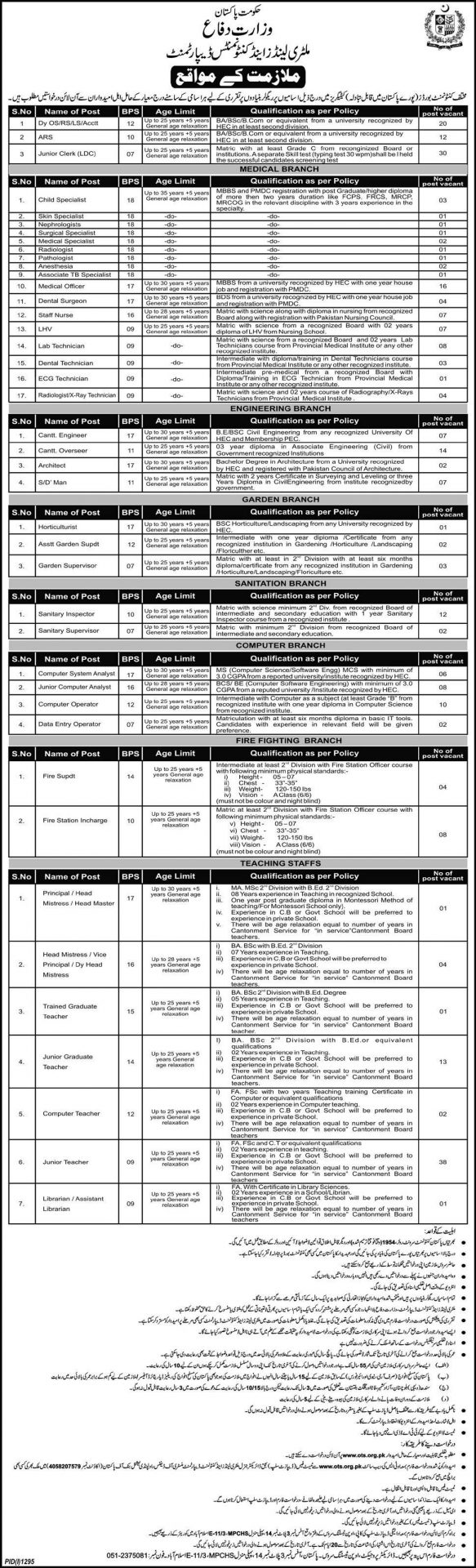 Military Lands And Cantonments Department Jobs 2015 OTS Form Ots.org.pk