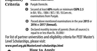 PEEF Scholarship 2017 For Masters PEEF Application Form, Last Date