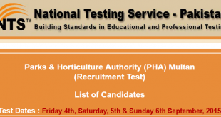 PHA Multan NTS Test Result 2015 Parks & Horticulture Authority 4th 5th 6th September Answer Keys