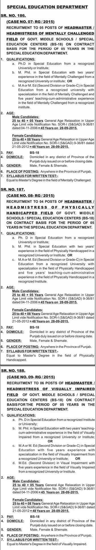 Ppsc Special Education Jobs 2015 Headmaster Headmistress Apply Online Form