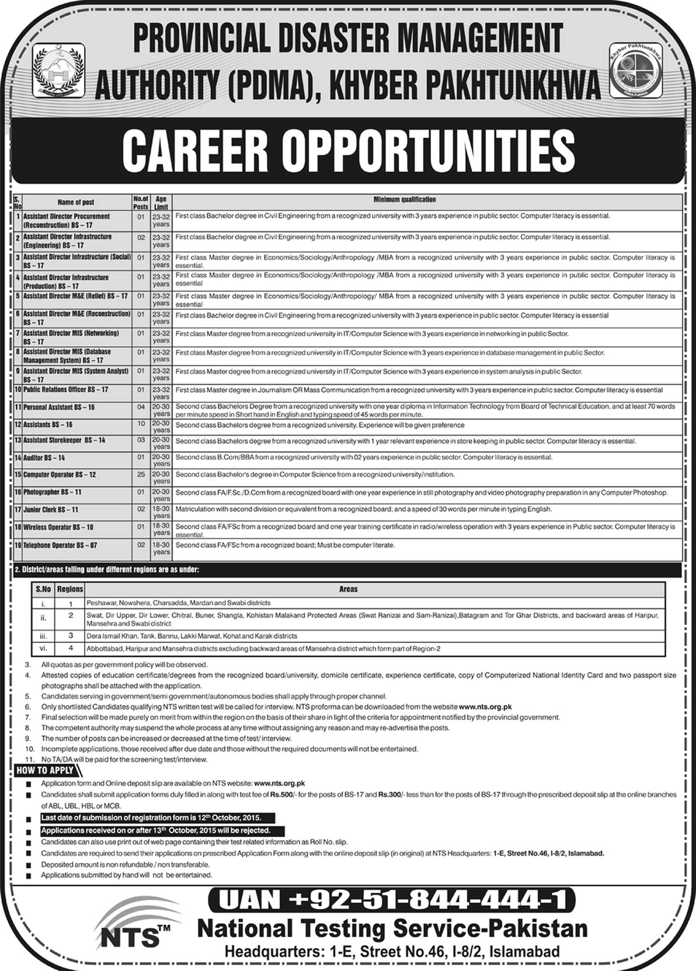 Provincial Disaster Management Authority Jobs 2016 PDMA KPK NTS Form, Last Date