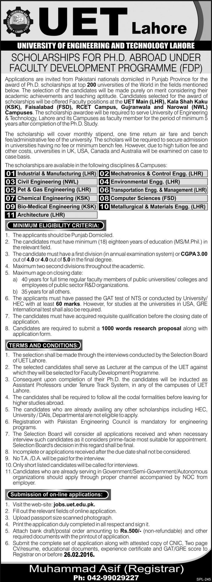 UET Lahore Scholarships For PhD Abroad 2018 Form Apply Online Last Date