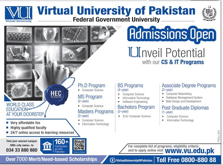 Virtual University VU Fall Admissions 2016 Bachelors Masters Online Form Last Date
