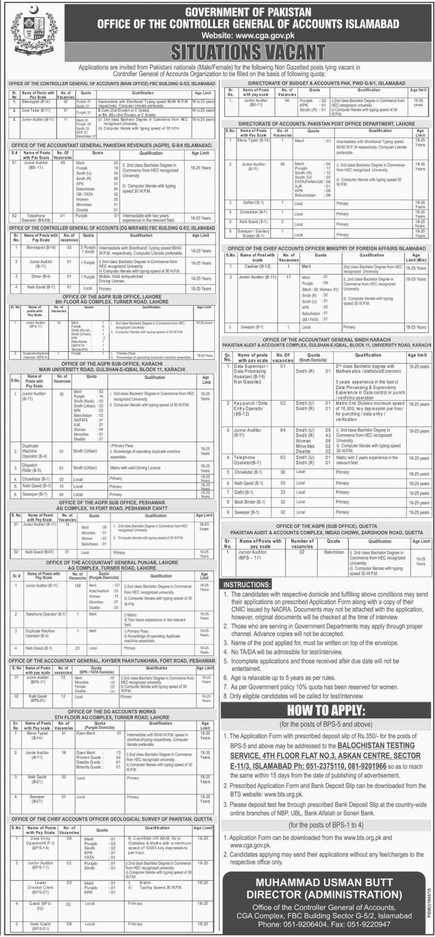 Controller General Of Accounts Islamabad Jobs 2015 CGA Form Date
