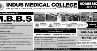 Indus Medical College IMC Admissions 2015-16 MBBS Download Form, Last Date