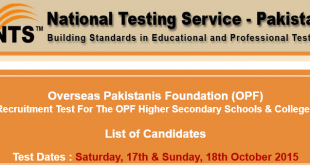 OPF NTS Test Result 2015 17th, 18th October Test Check Online Answer Keys