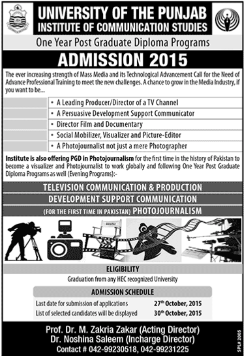 Photo Journalism One Year Post Graduate Diploma In University Of Punjab