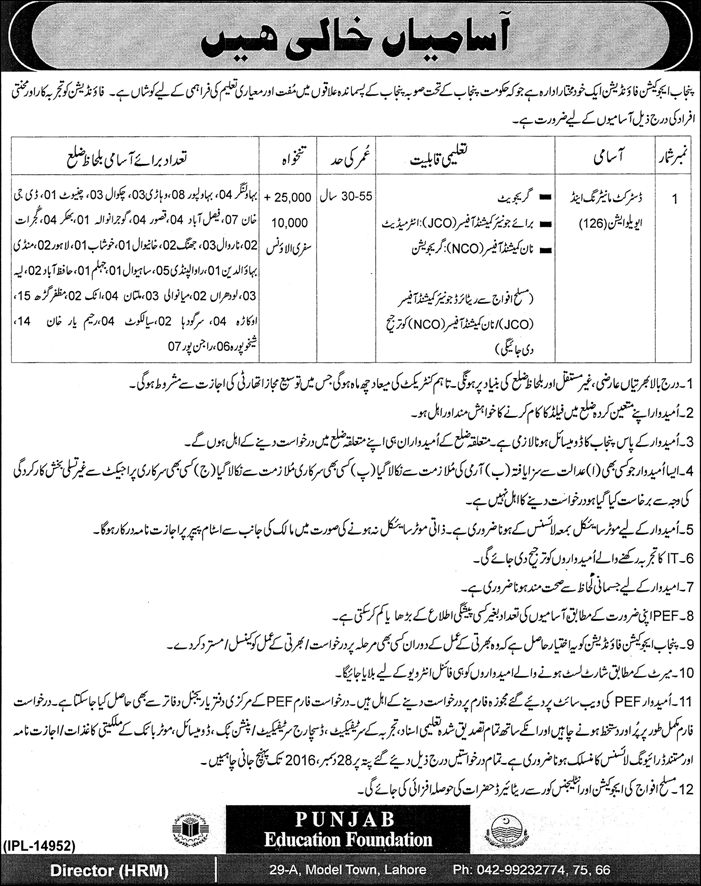 Punjab Education Foundation Lahore Jobs 2016-17 PEF Form Download Date