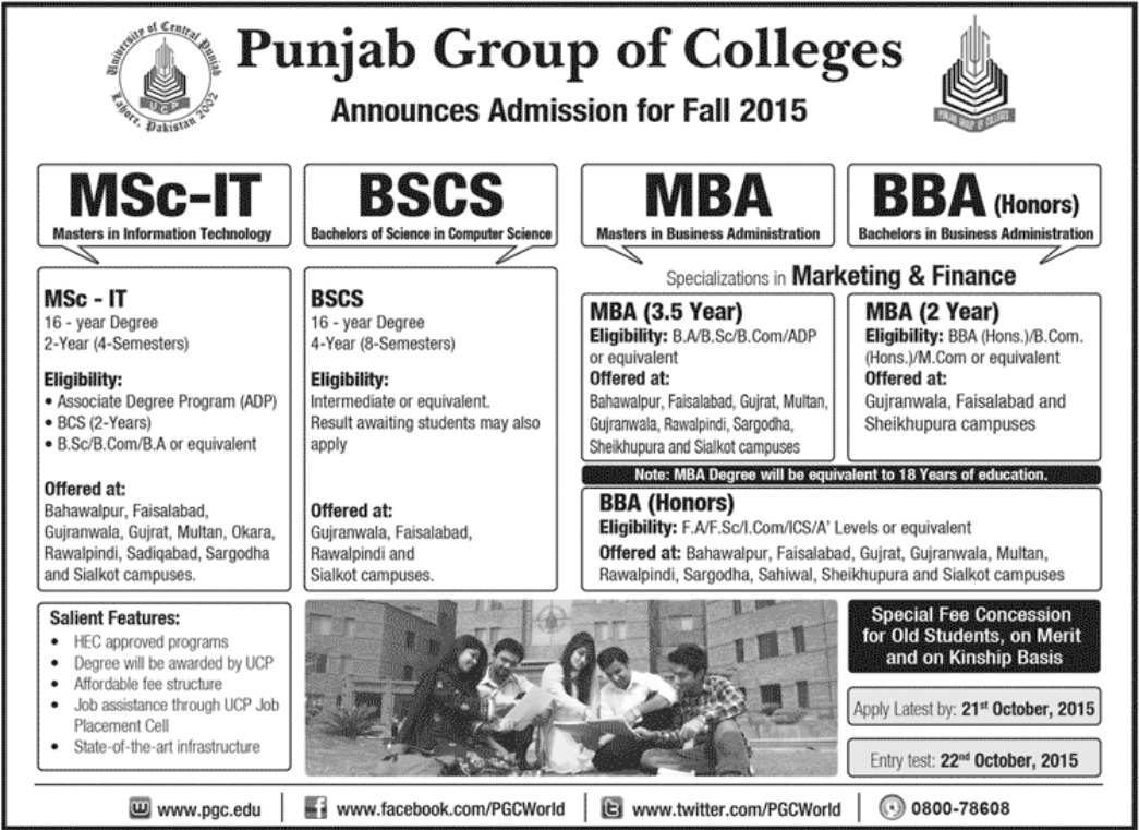 Punjab Group Of Colleges PGC Admissions 2016 BScs, MScs, MBA, BBA Form, Date