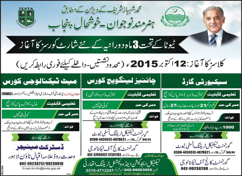 TEVTA three 3 Months Short Courses In Lahore 2016 Chinese Language, Meet Technology, Guard