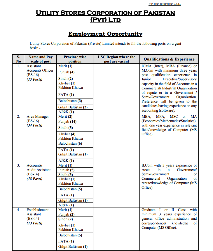 Utility Stores Corporation Jobs October 2015 NTS Form Last Date, Advertisement