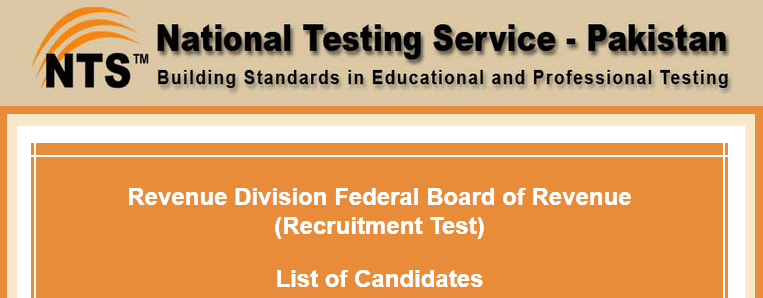 Federal Board Of Revenue FBR Islamabad NTS Test Result 2015 Answer Keys