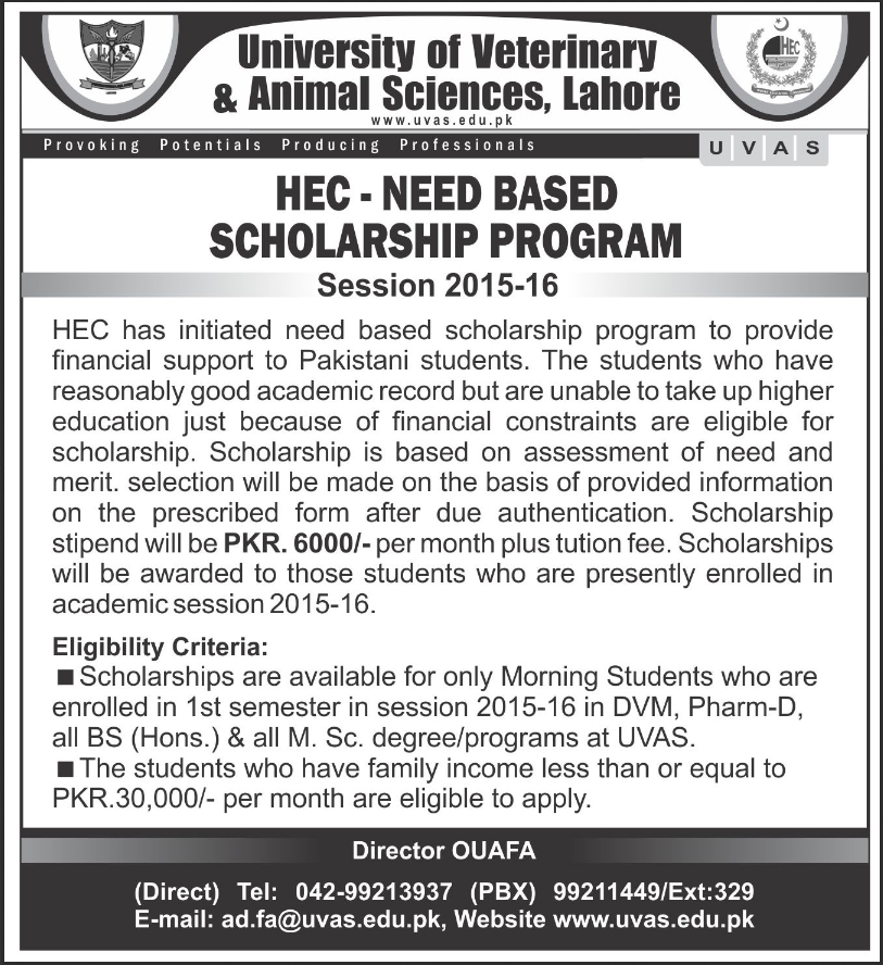 HEC Need Based Scholarship For UVAS 2015-2016 Application Form Last Date