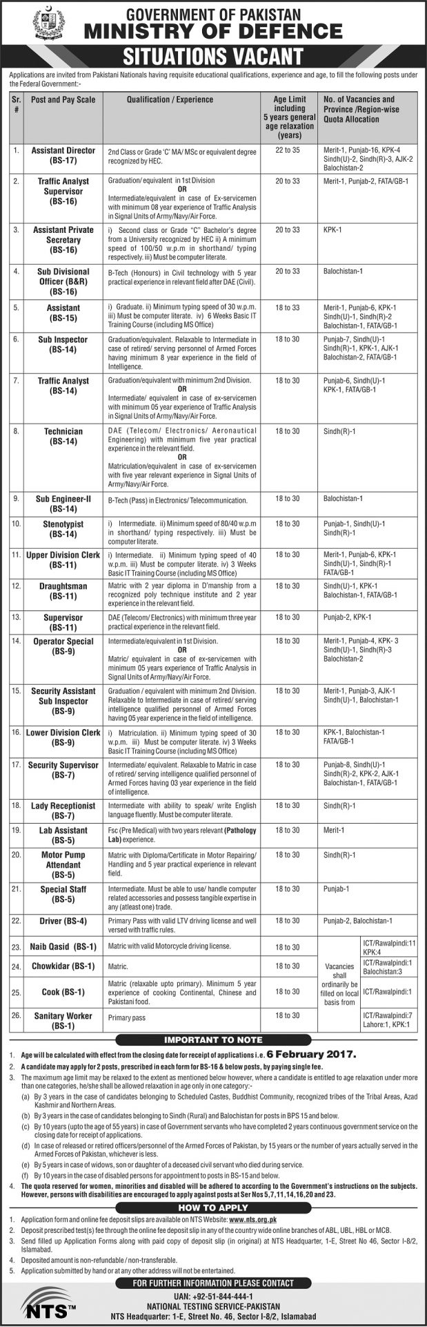 Ministry Of Defence Pakistan Jobs 2017 MOD NTS Application Form Date