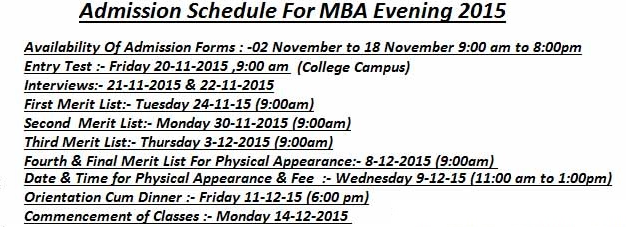 PUHCBF MBA Evening Admissions 2015 Hailey College Of Banking And Finance Form Date 1