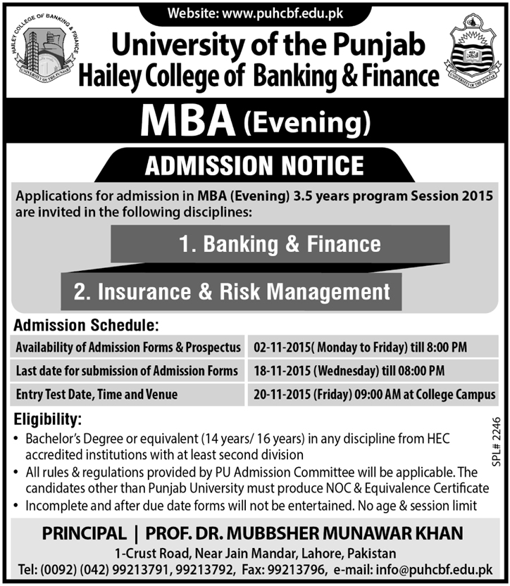 PUHCBF MBA Evening Admissions 2015 Hailey College Of Banking And Finance Form Date