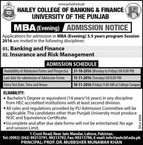 PUHCBF MBA Evening Admissions 2017-18 Hailey College Of Banking And Finance Form Date