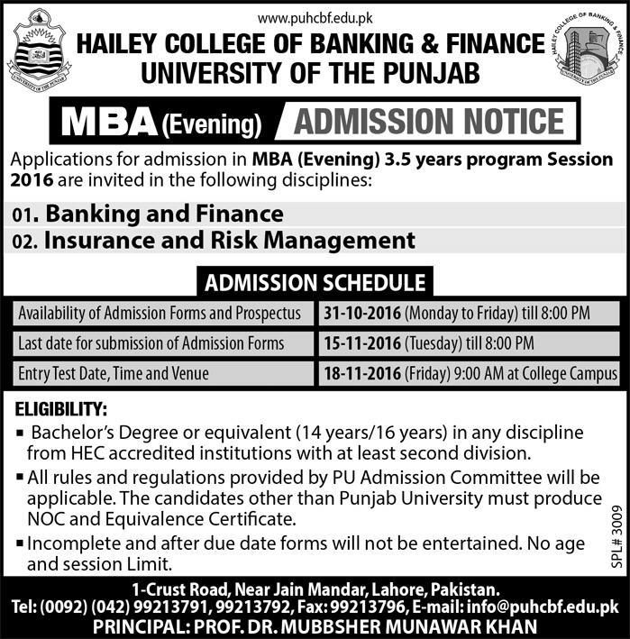 PUHCBF MBA Evening Admissions 2016-17 Hailey College Of Banking And Finance Form Date