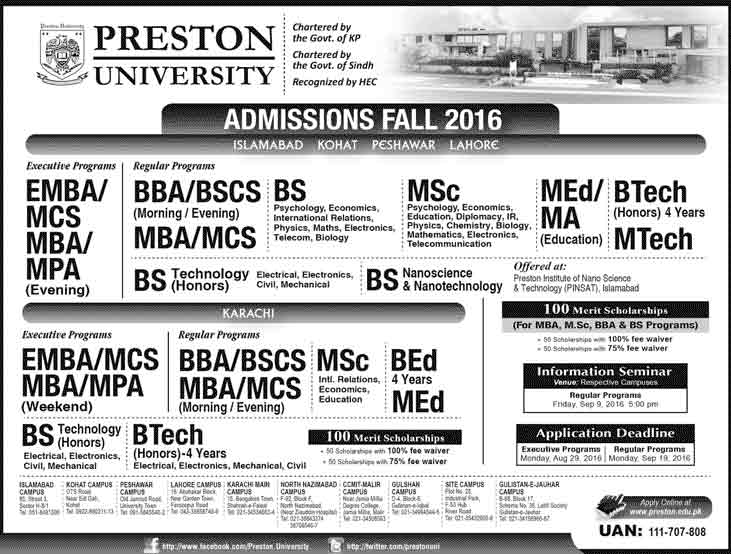 Preston University Admissions 2016 Apply Online Form Last Date