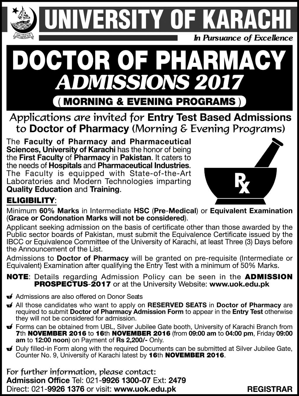 University Of Karachi UOK Pharm D Admissions 2017 Entry Test Form Date