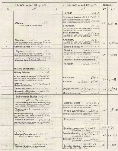 10th Class Date Sheet 2016 Lahore Board Science, Arts Group ,,