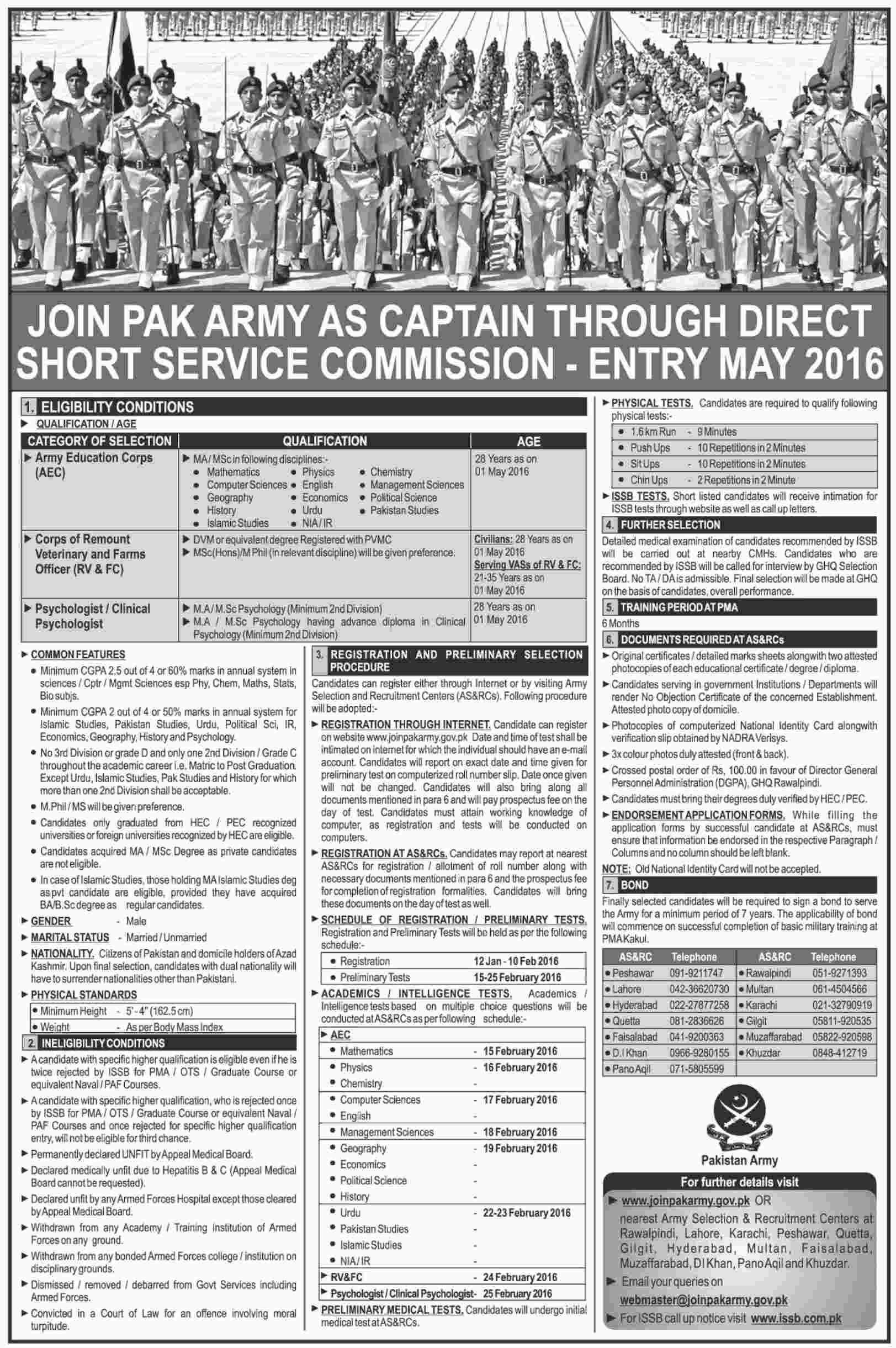 Join Pakistan Army Through Direct Short Service Commission 2016