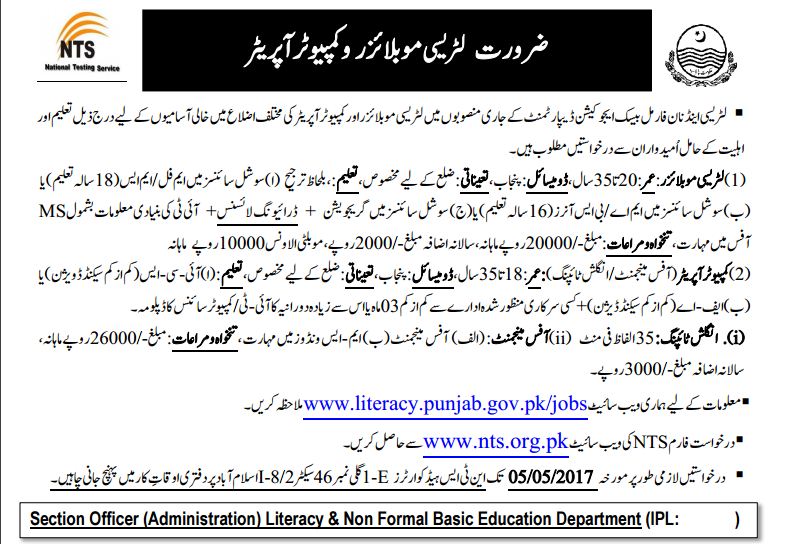 Literacy And Non Formal Basic Education Department Jobs 2017 NTS Application Form