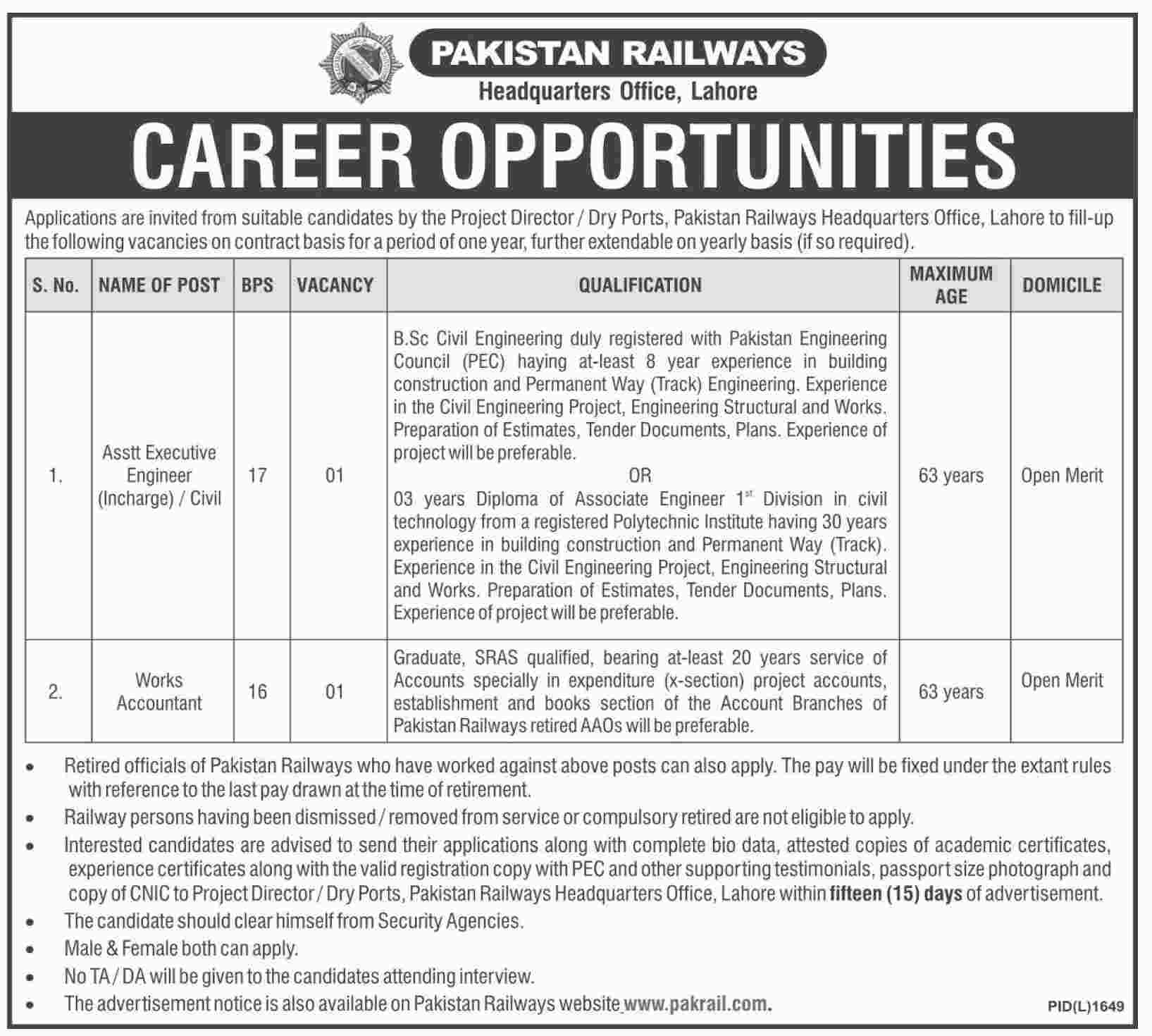 Pakistan Railways Latest Jobs 2016 Form, Eligibility