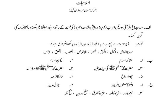 Cadet College Admission Test Syllabus For Islamiat