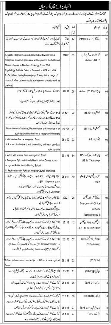 District Chakwal Health Department jobs 2016 Form, Last Date all the details that you are looking for are here for you now. You can have all the detail that you want about the job vacant in the District Chakwal health department jobs 2016. Heath is the most important of the country that is prevailing in all over the world. This is the basic necessity of the population of a country and the basic duty of the country to give basic health facility to the residents of that country. Although Pakistan is not still advanced enough to give its residents the basic needs of health but it is working to improve the health sector to improve itself and its health department this is the reason that the health department is hiring new staff and more staff to improve its medical field and the health sector. Here is one of the steps of Govt. of Pakistan in this extent to improve its medical sector. It has announced the District Chakwal health department jobs 2016 for the general public to go hand in hand with the Govt. to develop the country and to help the Govt. of the country to make it a better place. There are obviously some rules and regulations that are to be followed by the applicant while applying for this job.  District Chakwal Health Department jobs 2016 Form, Last Date Following are the rules to apply for District Chakwal health department jobs 2016: How to Apply:  Following are the processes to apply for District Chakwal health department jobs 2016: •	The candidates have to write an application on a plan paper and with a subject of the job. •	The candidates have to attach the attested copy of each following documents: •	CNIC, Domicile, certificates of professional experience, all the certificates and one recent picture of the candidate Terms and Conditions: •	Incomplete and late applications will not be entertained.  •	There is a relaxation in the age according to the policy of the Govt. and there will be a relaxation for women for three years except these 5 years.  •	There is a reserved seats quota for of 5% for minorities, 15% for females, 3% for handicaps and 15% for in service candidates for scale 1-5. •	Write your name, phone number and address clearly in the application. •	Bring your real documents with you at the time of interview. •	No TA/DA will be given for interview. Above are the details that you need to follow when you apply for the job. For other queries and confusion please have a look on the advertisement above. This is your chance to have a Govt. job of District chakwal health department jobs 2016. So, grab this opportunity and be a part of Govt. faculty
