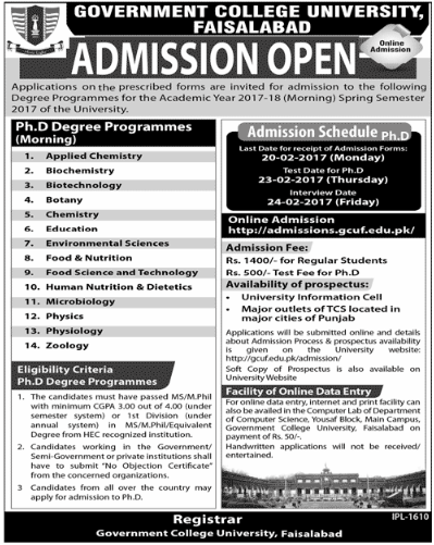 GC University Faisalabad Admission 2017 MS, M.Phil, PhD Form, Last Date