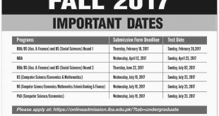 IBA Karachi Admission 2017 Form Last Date MBA, BBA, BS, MS