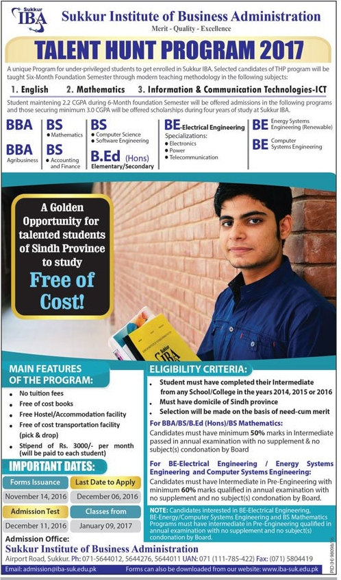 IBA Sukkur National Talent Hunt Program 2017 Apply Online Form, Test Date