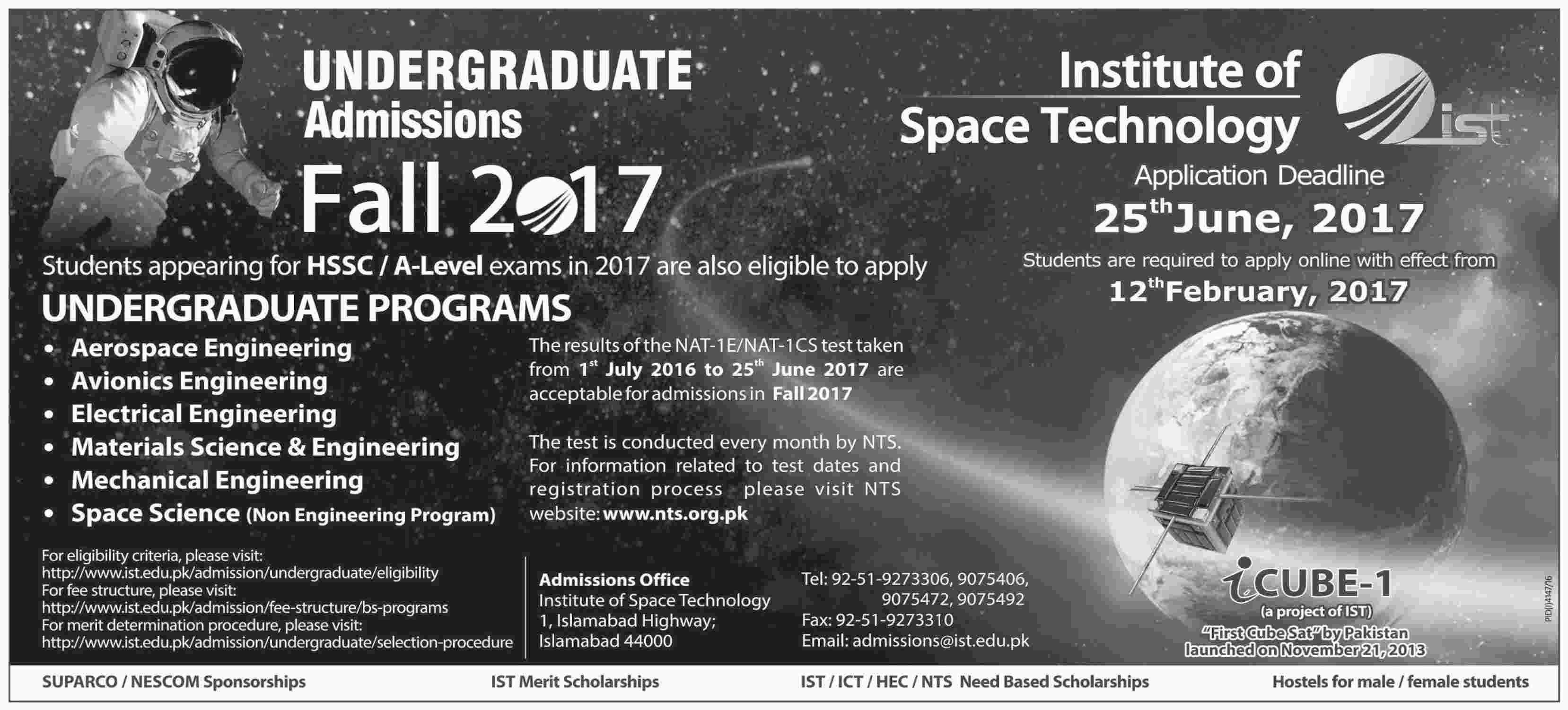 Institute Of Space Technology Islamabad Undergraduate Fall Admissions 2017 Form