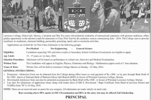 Lawrence College Ghora Gali Murree First Year 11th Admission 2016 Form Download